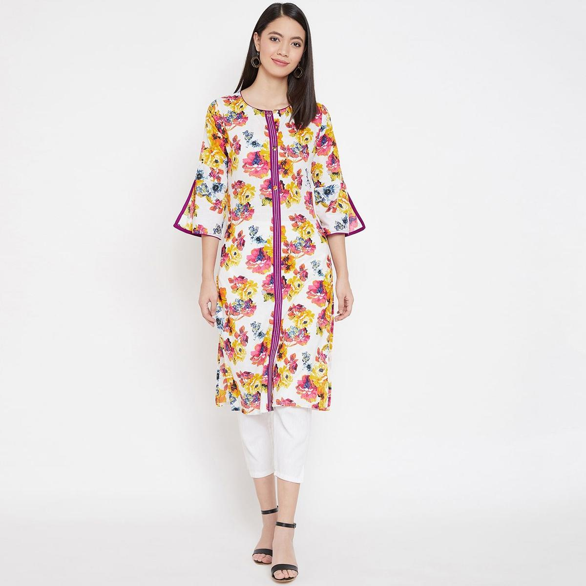 WineRed - White Purple Colored Casual Wear Floral Printed Pure Cotton Kurti