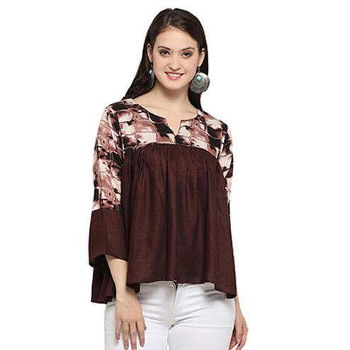 Smart Brown Digital Printed Casual Wear Rayon Top