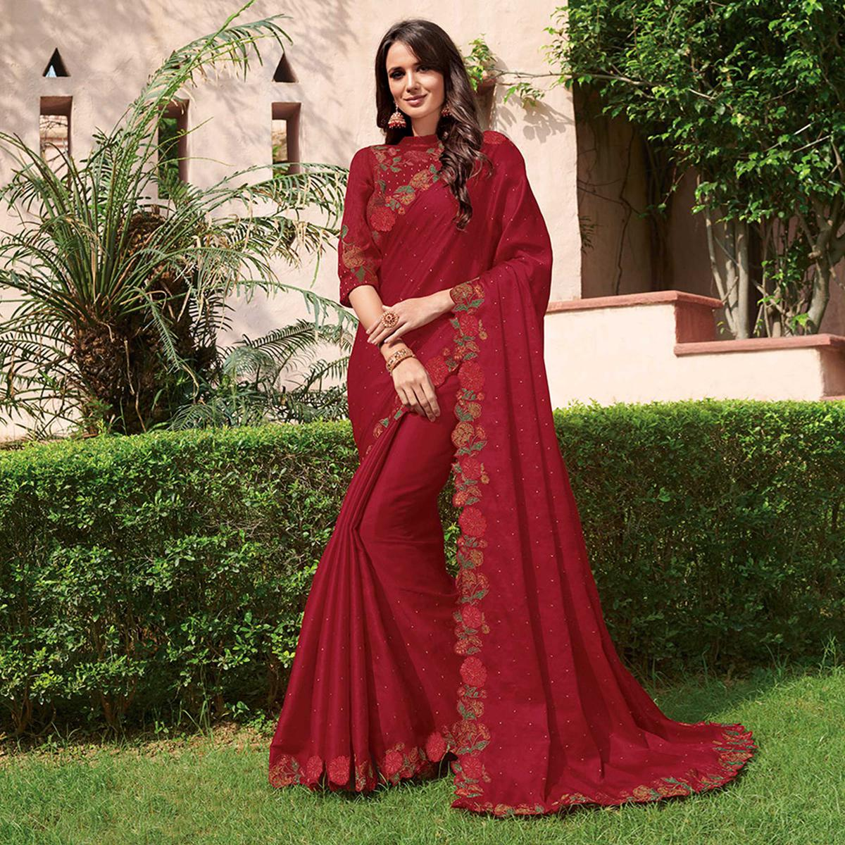 Glorious Maroon Colored Partywear Floral Embroidered Tussar Silk Saree