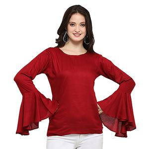 Lovely Maroon Casual Wear Rayon Top