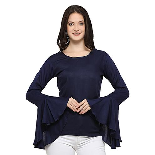 Lovely Navy Blue Casual Wear Rayon Top