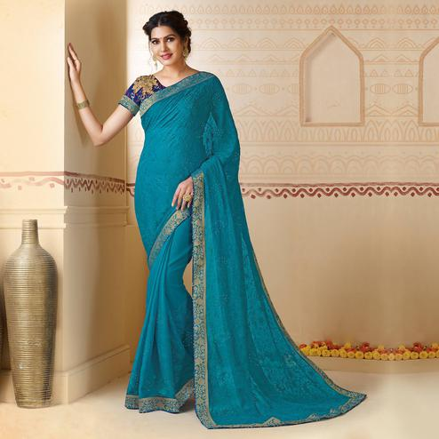 Breathtaking Light Blue Colored Partywear Embroidered Chiffon Saree