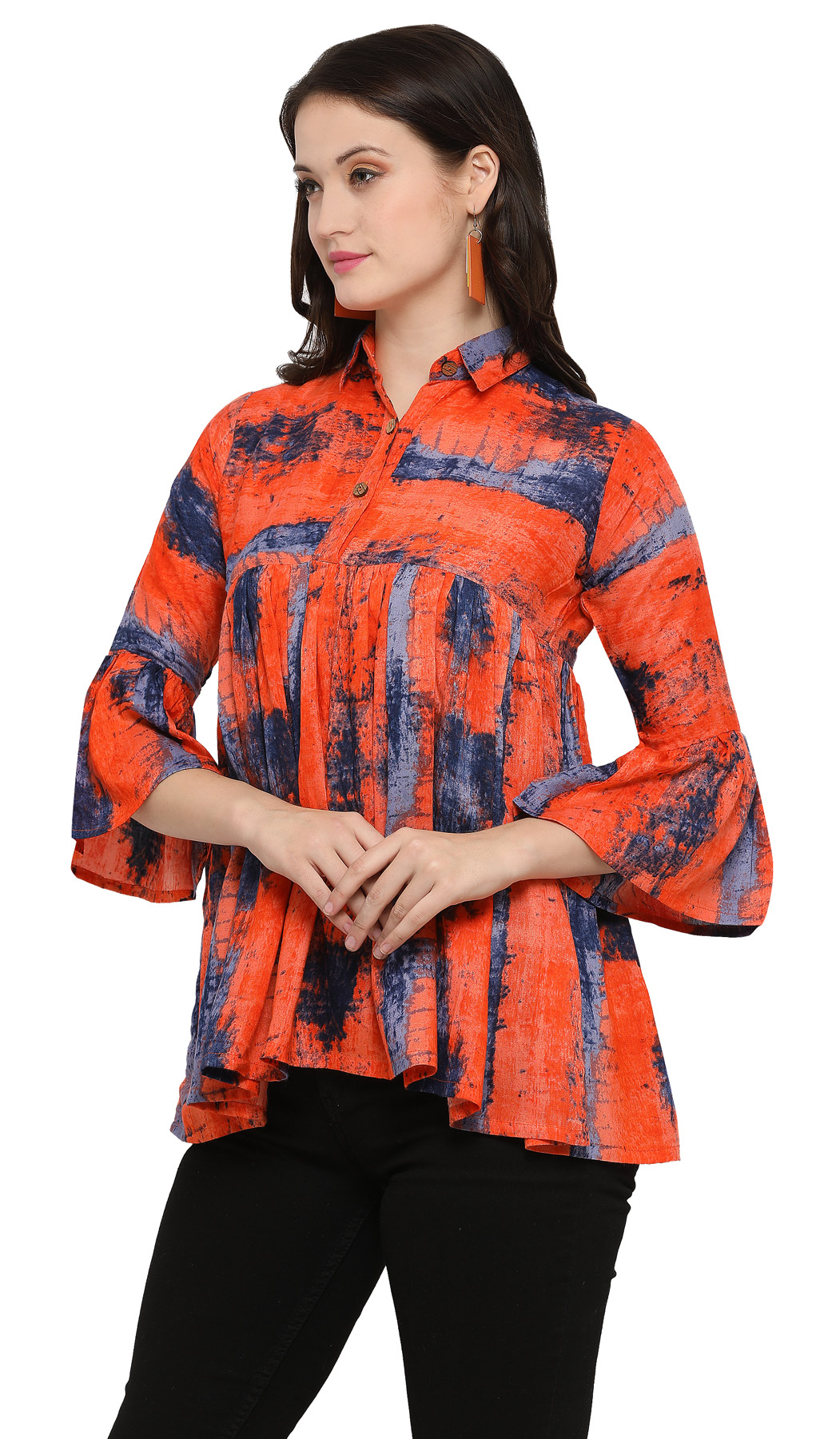 Trendy Orange Digital Printed Casual Wear Rayon Top
