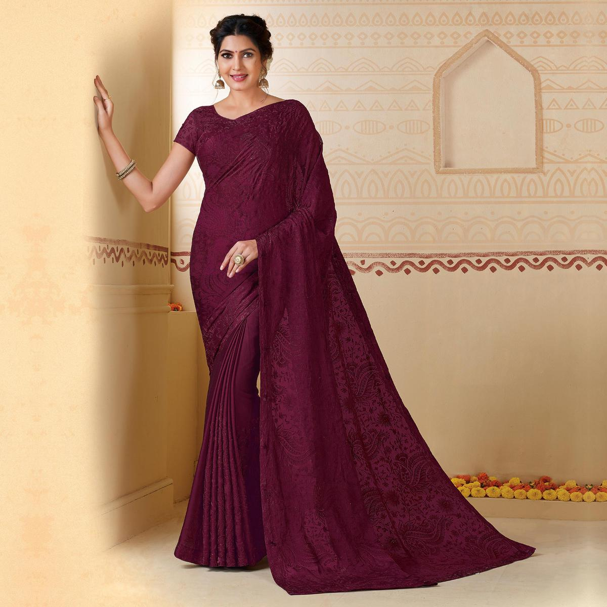 Desirable Wine Colored Partywear Embroidered Chiffon Saree