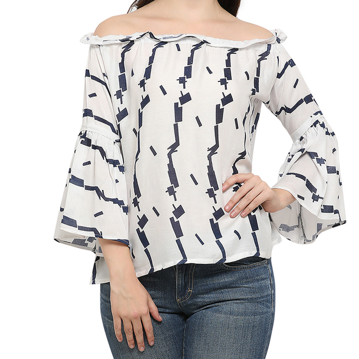 Stylish White Digital Printed Casual Wear Rayon Top