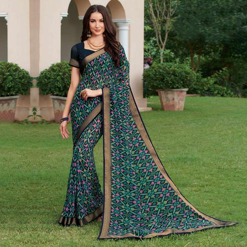 Demanding Blue & Pink Colored Casual Wear Printed Georgette Saree