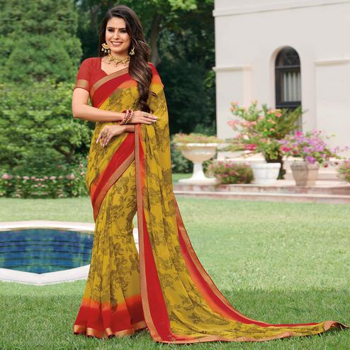 Refreshing Yellow Colored Casual Wear Printed Georgette Saree