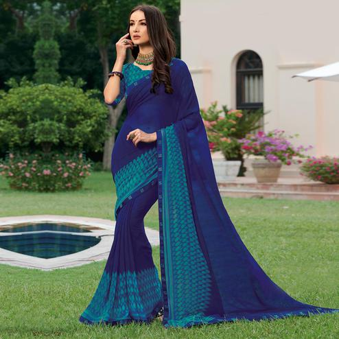 Flattering Blue Colored Casual Wear Printed Georgette Saree