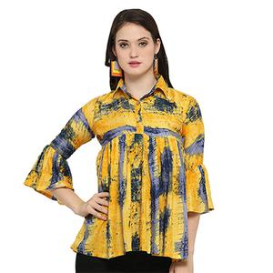 Trendy Yellow Digital Printed Casual Wear Rayon Top