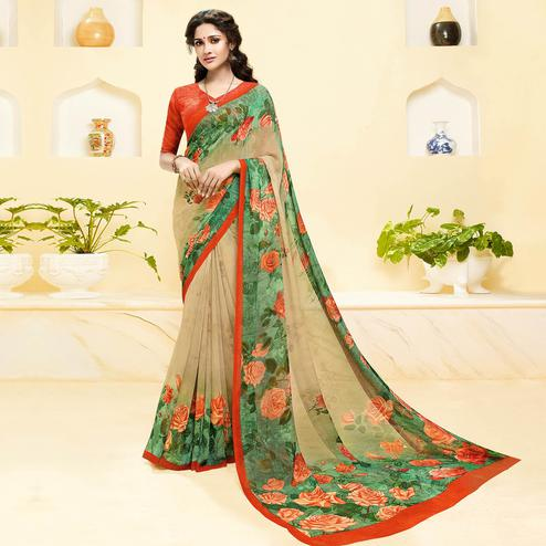 Alluring Beige-Sea Green Colored Casual Wear Floral Printed Georgette Saree