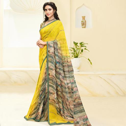 Flaunt Yellow Colored Casual Wear Floral Printed Georgette Saree