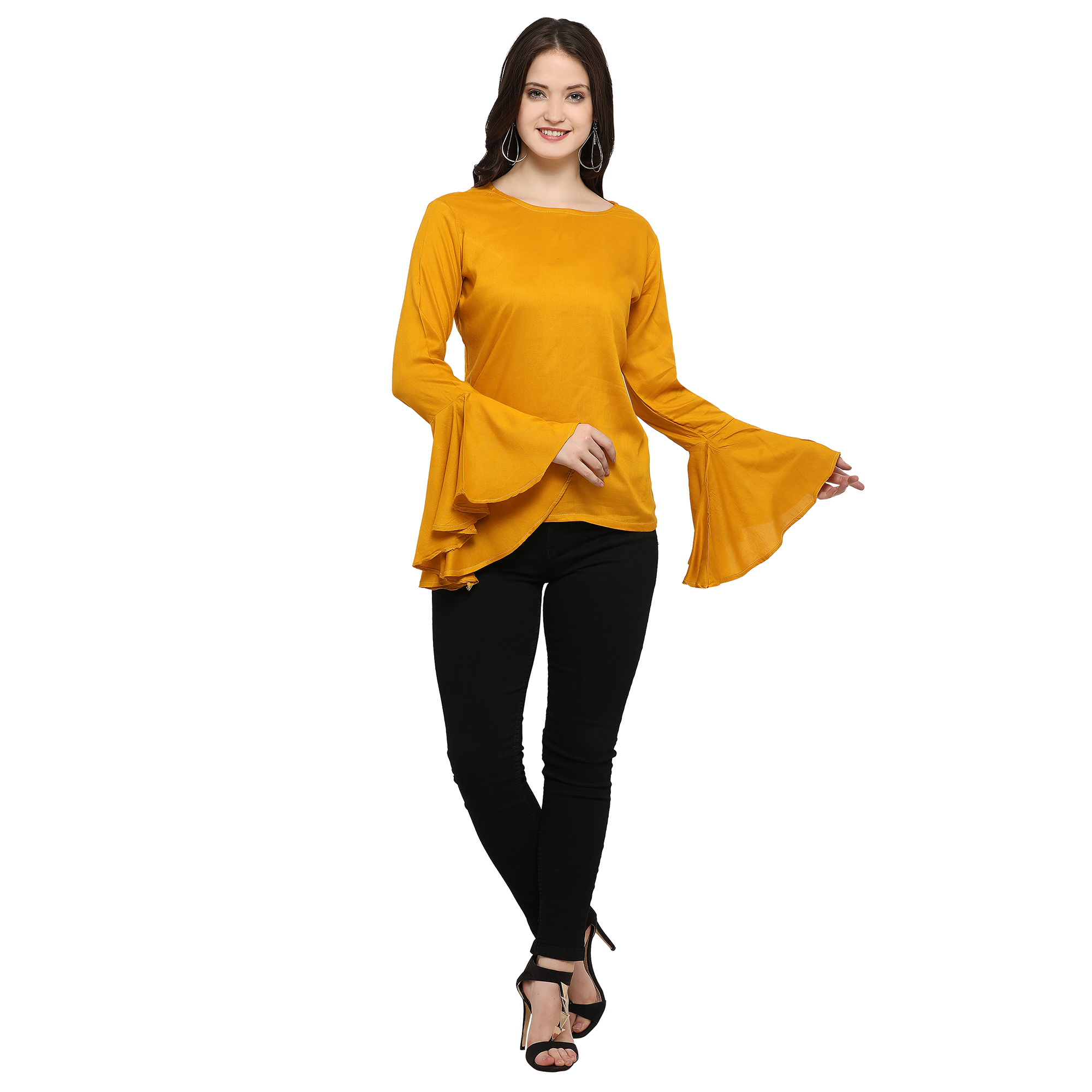 Lovely Yellow Casual Wear Rayon Top