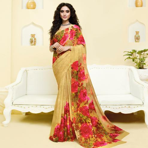 Appealing Beige Colored Casual Wear Floral Printed Georgette Saree