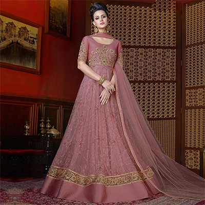 Beautiful Wine Colored Designer Partywear Anarkali Suit