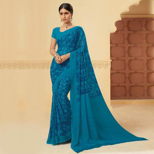 Fantastic Blue Colored Casual Wear Printed Georgette Saree