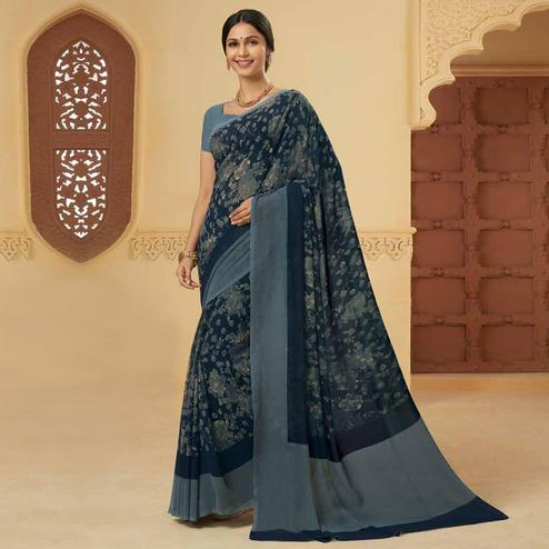 Amazing Grey Colored Casual Wear Printed Georgette Saree