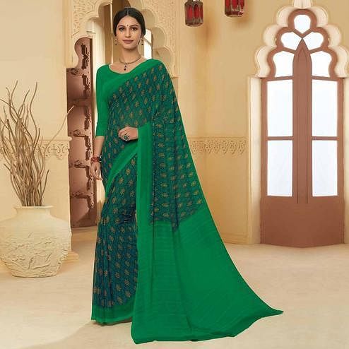 Gorgeous Rama Green Colored Casual Wear Printed Georgette Saree