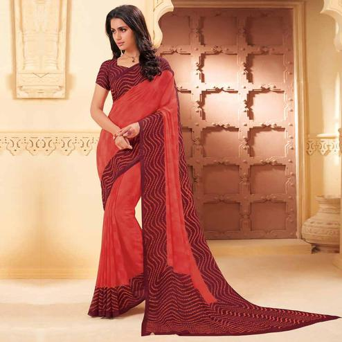 Blissful Peach Colored Casual Wear Printed Georgette Saree