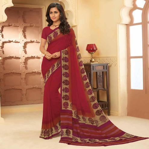 Ideal Maroon Colored Casual Wear Printed Georgette Saree