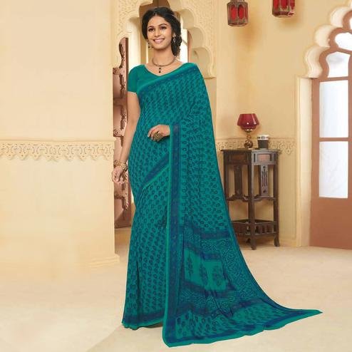 Imposing Rama Blue Colored Casual Wear Printed Georgette Saree