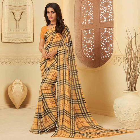 Lovely Chikoo Colored Casual Wear Printed Georgette Saree