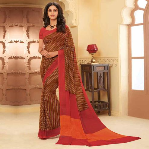 Majesty Brown Colored Casual Wear Printed Georgette Saree