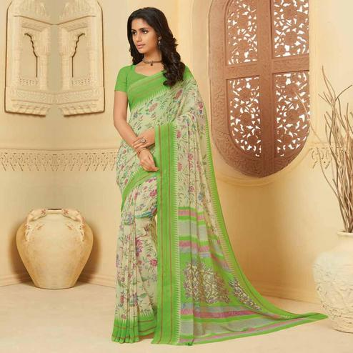Impressive Off White Colored Casual Wear Printed Georgette Saree