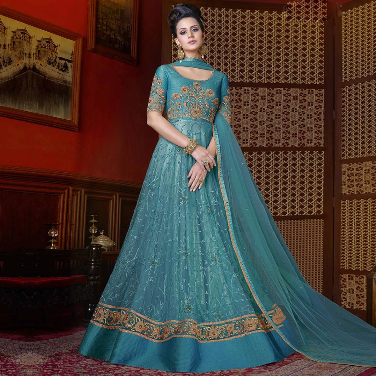 Buy Adorable Blue Designer Partywear Anarkali Suit online India ...