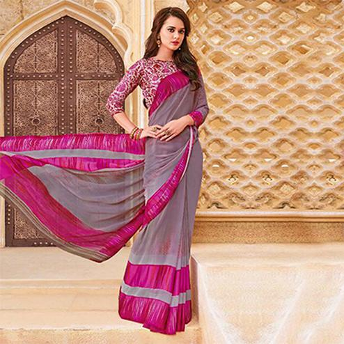 Classy Pink-Gray Casual Printed Georgette Satin Saree