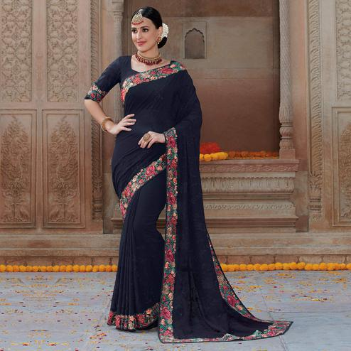 Excellent Blue Colored Partywear Embroidered Georgette Saree