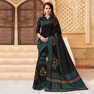 Gorgeous Black Casual Printed Georgette Satin Saree
