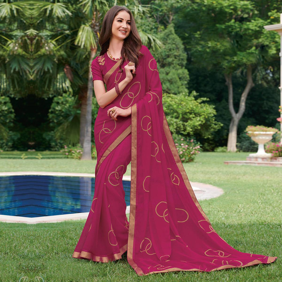 Exclusive Pink Colored Partywear Embroidered Chiffon Saree