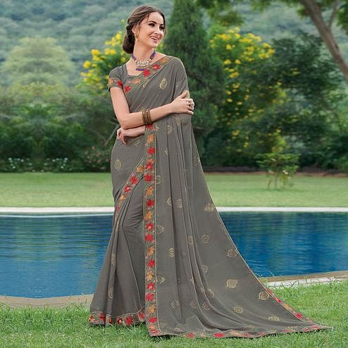 Adorable Grey Colored Partywear Embroidered Brasso Saree