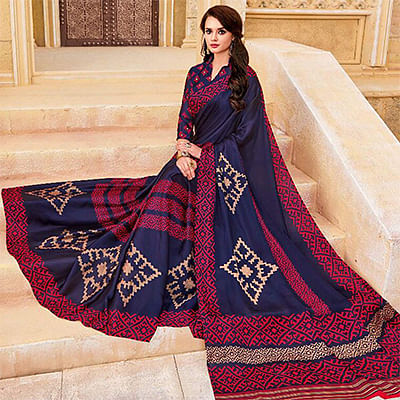 Gorgeous Navy Casual Printed Georgette Satin Saree