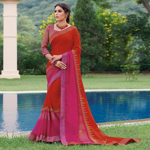 Glorious Red & Pink Colored Partywear Woven Brasso Saree