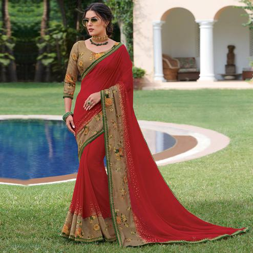 Delightful Red & Chiku Colored Partywear Printed Georgette Saree