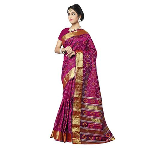Rani Pink Festive Wear Traditional Silk Woven Saree
