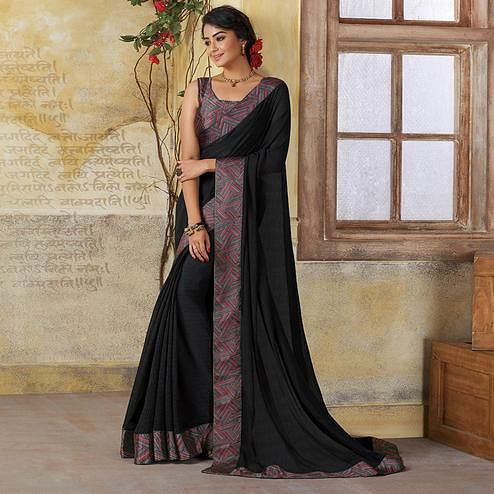 Innovative Black Colored Casual Wear Georgette Saree