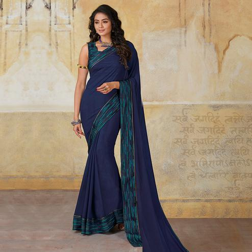 Fantastic Blue Colored Casual Wear Georgette Saree