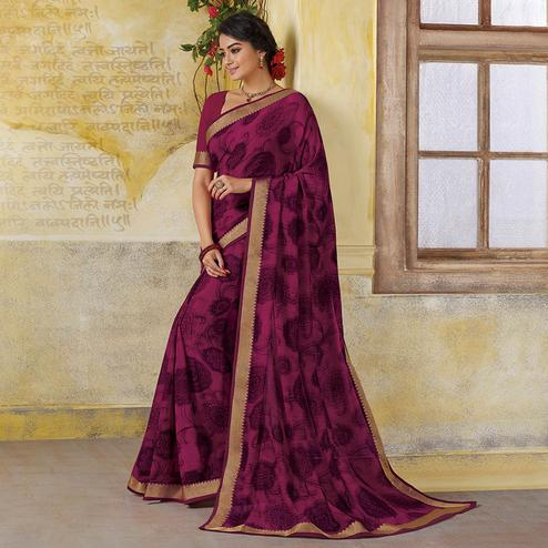 Amazing Dark Pink Colored Casual Wear Printed Georgette Saree