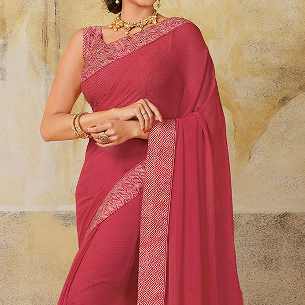 Gorgeous Pink Colored Casual Wear Chiffon Saree