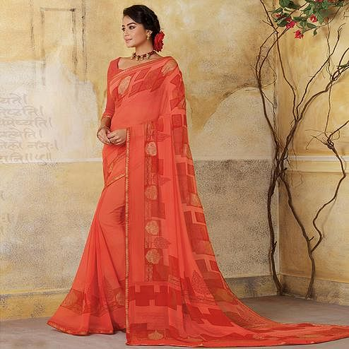 Arresting Peach Colored Casual Wear Printed Georgette Saree