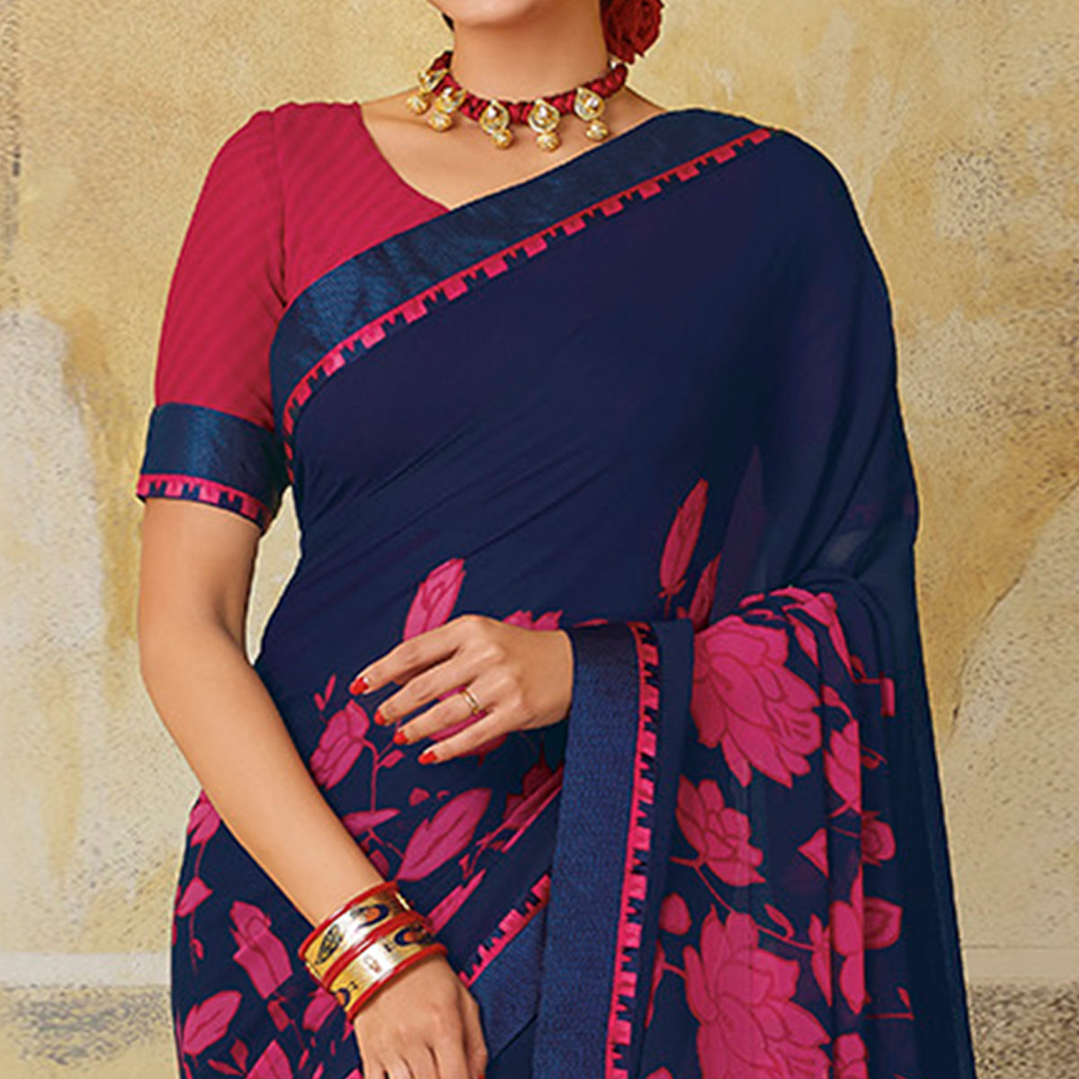 Desirable Blue & Pink Colored Casual Wear Printed Georgette Saree