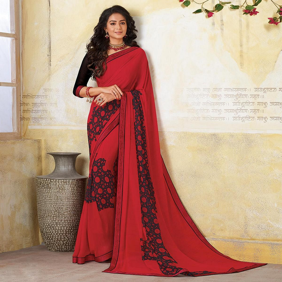 Exotic Red & Black Colored Casual Wear Printed Georgette Saree