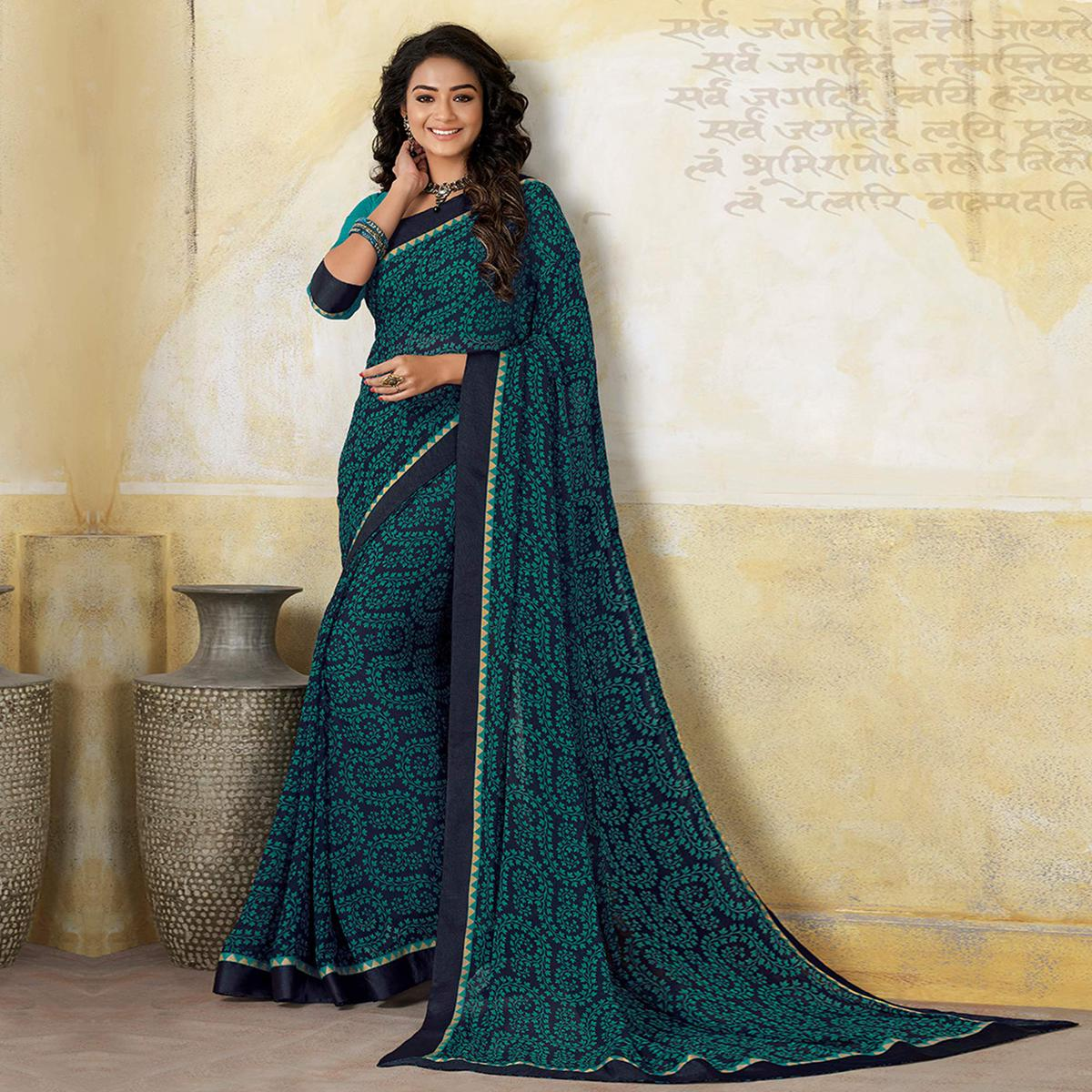 Sophisticated Rama Blue Colored Casual Wear Printed Georgette Saree