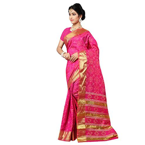 Pink Festive Wear Traditional Silk Woven Saree