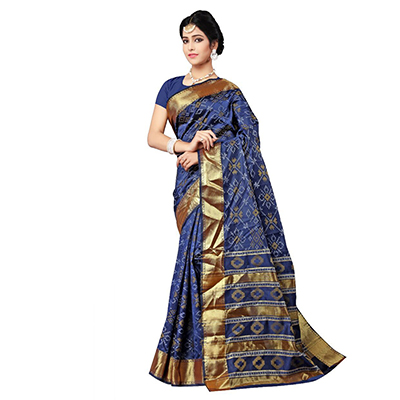 Navy Festive Wear Traditional Silk Woven Saree