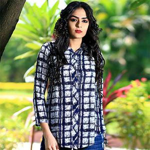Stylish White-Blue Checked Digital Print Casual Wear Crape Top