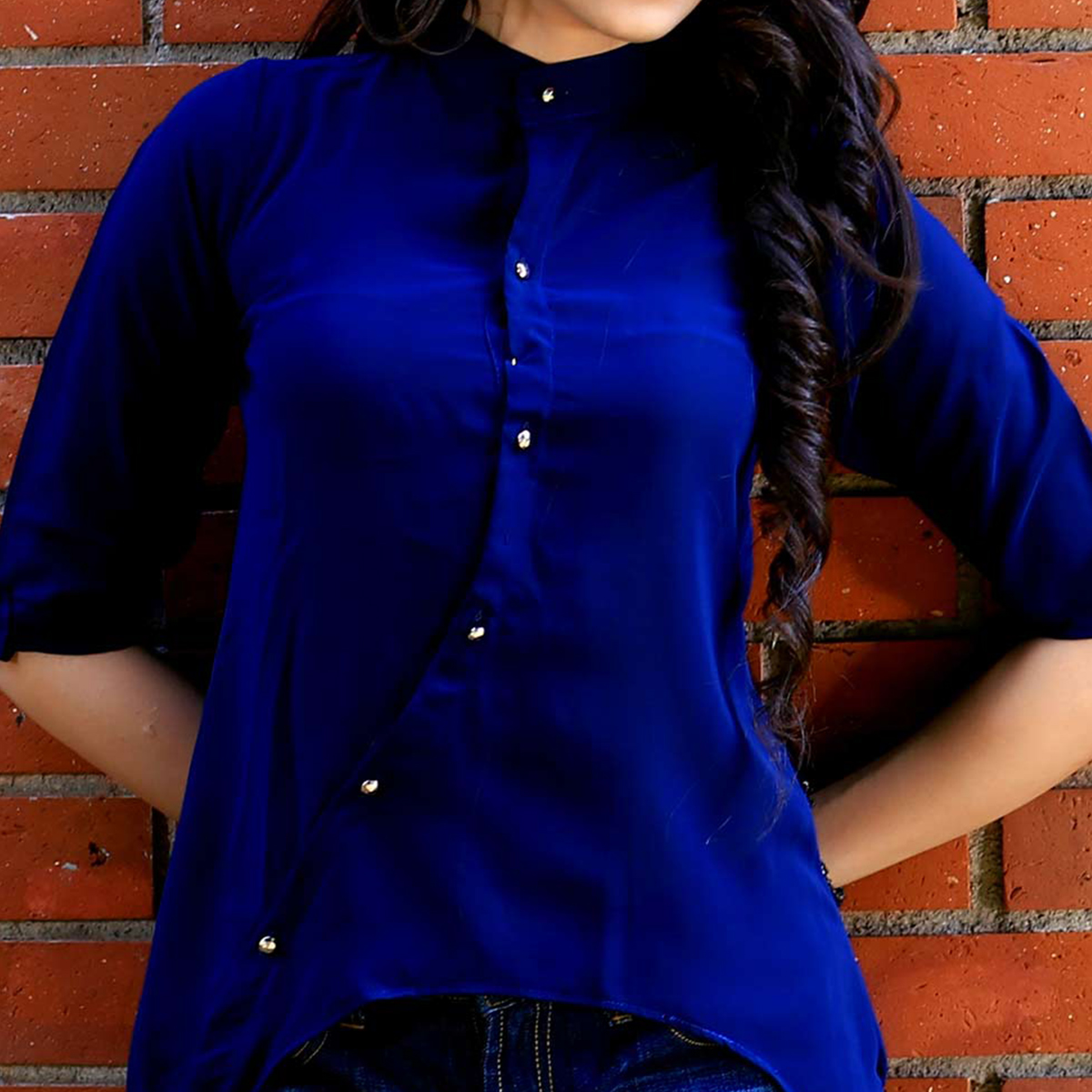 Solid Blue Designer Casual Wear Crape Top