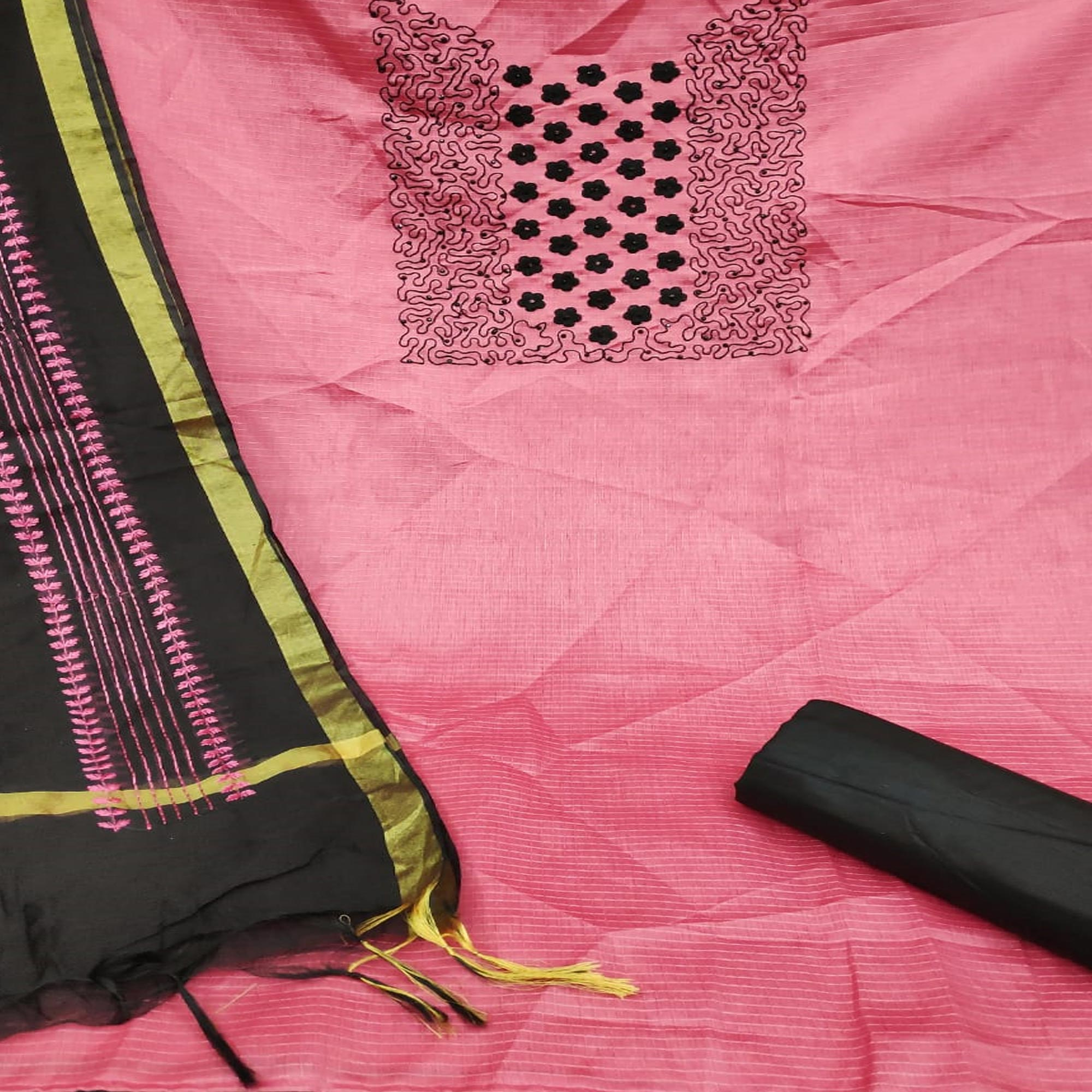 Adorable Pink Colored Partywear Embroidered Manipuri Silk Dress Material